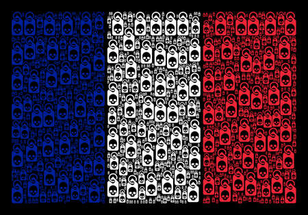 French State Flag collage created of death skull tag design elements. Vector death skull tag pictograms are organized into geometric French flag pattern on a black background. Иллюстрация