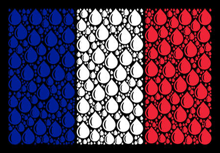 France Flag pattern combined of drop pictograms. Vector drop pictograms are combined into geometric France flag pattern on a black background. Иллюстрация
