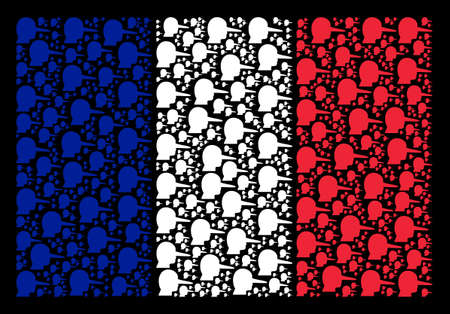 French Flag mosaic constructed of lier elements. Vector lier items are combined into geometric France flag illustration on a black background.