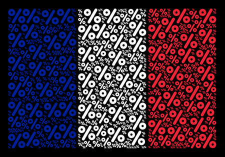 French Flag pattern combined of percent pictograms. Vector percent objects are united into geometric France flag pattern on a black background. 일러스트
