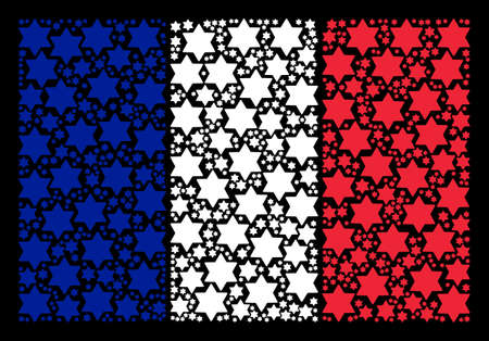 France National Flag pattern composed of six pointed star elements. Vector six pointed star elements are composed into mosaic French flag collage on a black background.