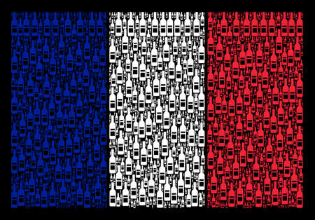 French Flag concept created of wine bottle design elements. Vector wine bottle items are composed into conceptual French flag composition on a black background. Vettoriali