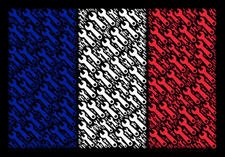 French Flag concept done of wrench pictograms. Vector wrench design elements are composed into conceptual French flag pattern on a black background.