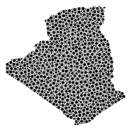 Algeria Map mosaic of dots in different sizes. Random spheric items are united into Algeria Map collage. Vector cartography map vector illustration. Illustration
