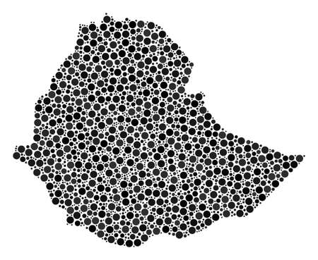Ethiopia Map composition of round dots in variable sizes. Random round spots are arranged into Ethiopia Map illustration. Vector cartography map vector illustration. Illustration