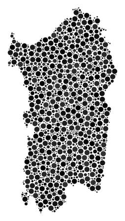 Italian Sardinia Island Map mosaic of filled circles in variable sizes. Randomized round dots are united into Italian Sardinia Island Map collage. Vector geography map vector illustration.