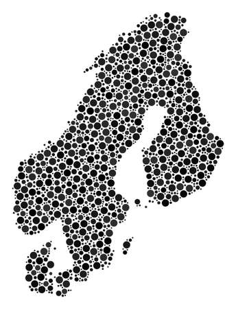 Scandinavia Map composition of round spots in variable sizes. Random dots are arranged into Scandinavia Map illustration. Vector geographic map design concept.  イラスト・ベクター素材