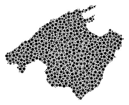 Spain Mallorca Island Map mosaic of filled circles in different sizes. Randomized small spheres are combined into Spain Mallorca Island Map composition. Vector geographical map design concept.