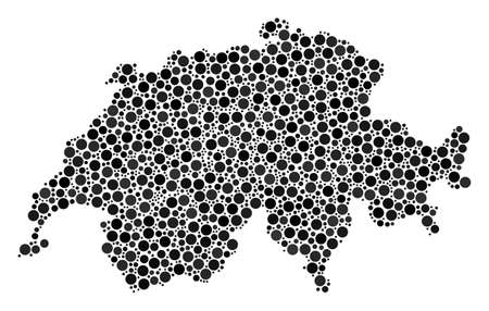 Swissland Map collage of circle elements in various sizes. Scattered small spheres are composed into Swissland Map collage. Vector geography map design concept.