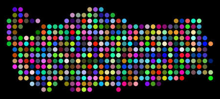 Colored Dot Turkey Map. Vector geographic map in bright colors on a dark background. Multicolored vector composition of Turkey Map made of regular blots.