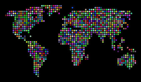Colored Dot World Map. Vector geographic map in bright colors on a dark background. Colorful vector collage of World Map organized of regular filled circles.