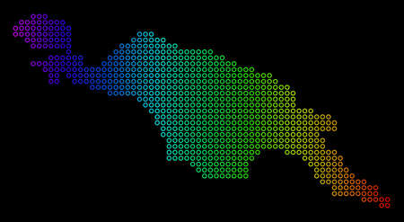 Colored Spectral New Guinea Island Map. Vector geographic map in bright spectral colors with horizontal gradient on a black background. Illustration