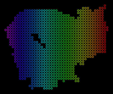 Bright Spectrum Cambodia Map. Vector geographic map in bright spectrum colors with horizontal gradient on a black background. Color vector pattern of Cambodia Map made of regular dots.