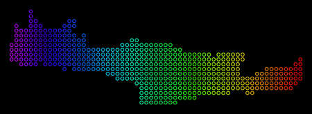 Colored Spectrum Crete Island Map. Vector geographic map in bright spectrum colors with horizontal gradient on a black background.