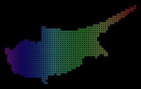 Bright Spectral Cyprus Island Map. Vector geographic map in bright rainbow colors with horizontal gradient on a black background.
