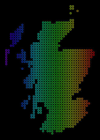 Bright Rainbow Scotland Map. Vector geographic map in bright rainbow colors with horizontal gradient on a black background. Colorful vector composition of Scotland Map made of regular circle elements. Illustration
