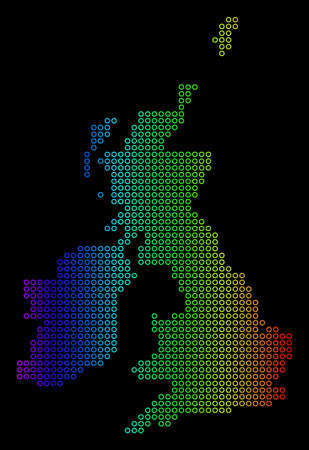 Colored Rainbow Great Britain And Ireland Map. Vector geographic map in bright spectral colors with horizontal gradient on a black background.
