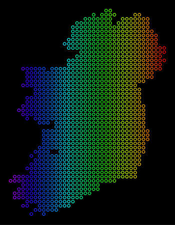 Bright Spectral Ireland Island Map. Vector geographic map in bright spectrum colors with horizontal gradient on a black background.