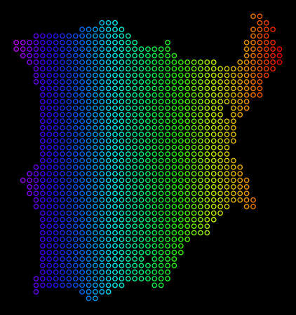 Bright Spectral Koh Samui Map. Vector geographic map in bright rainbow colors with horizontal gradient on a black background. Bright vector mosaic of Koh Samui Map composed of regular empty circles.