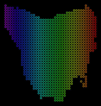 Colored Rainbow Tasmania Island Map. Vector geographic map in bright spectral colors with horizontal gradient on a black background. Illustration