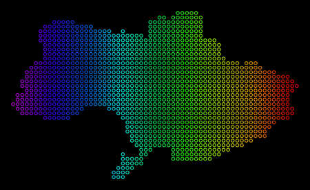 Bright Rainbow Ukraine Map. Vector geographic map in bright rainbow colors with horizontal gradient on a black background. Colorful vector mosaic of Ukraine Map composed of regular dots. 일러스트