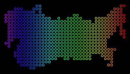 Colored Spectrum USSR Map. Vector geographic map in bright rainbow colors with horizontal gradient on a black background. Color vector composition of USSR Map designed of regular round elements. 일러스트