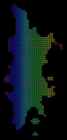 Colored Spectrum Phuket Map. Vector geographic map in bright rainbow colors with horizontal gradient on a black background. Multicolored vector mosaic of Phuket Map designed of regular empty circles.