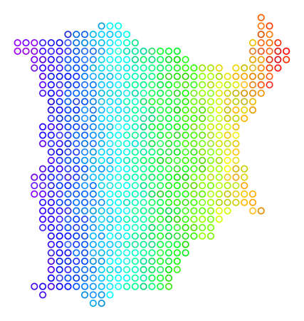Bright Spectrum Koh Samui Map. Vector geographic map in bright spectrum color tints with horizontal gradient. Multicolored vector pattern of Koh Samui Map composed of regular dots. Illustration
