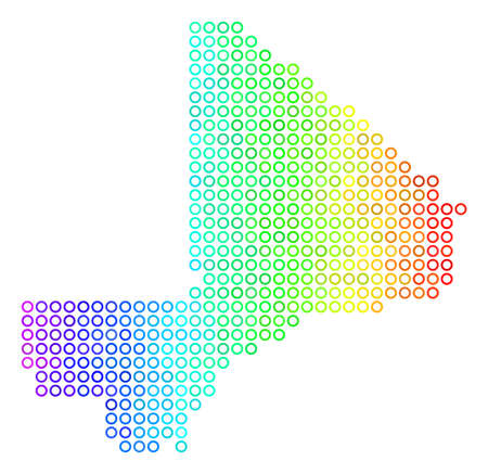 Bright Spectral Mali Map. Vector geographic map in bright rainbow color tinges with horizontal gradient. Bright vector concept of Mali Map organized of regular empty circles. 스톡 콘텐츠 - 100228516