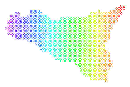 Bright Rainbow Sicilia Map. Vector geographic map in bright spectrum color hues with horizontal gradient. Multicolored vector mosaic of Sicilia Map composed of regular round dots.