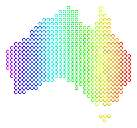 Bright Spectrum Australia Map. Vector geographic map in bright rainbow color variations with horizontal gradient. Multicolored vector collage of Australia Map combined of regular dots. Illustration