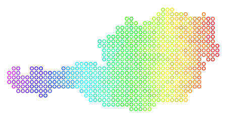 Bright Rainbow Austria Map. Vector geographic map in bright rainbow color tinges with horizontal gradient. Bright vector mosaic of Austria Map composed of regular round dots.