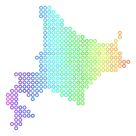 Bright Rainbow Hokkaido Island Map. Vector geographic map in bright spectrum color tinges with horizontal gradient. Color vector collage of Hokkaido Island Map made of regular round dots. Illustration