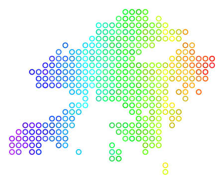 Bright Spectrum Hong Kong Map. Vector geographic map in bright spectrum color hues with horizontal gradient. Colored vector mosaic of Hong Kong Map organized of regular round elements.