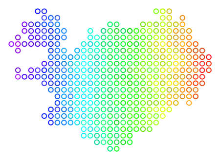 Colored Rainbow Iceland Map. Vector Geographic Map In Bright ...
