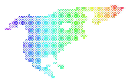 Colored Spectrum North America Map. Vector geographic map in bright rainbow color tinges with horizontal gradient. Color vector concept of North America Map constructed of regular empty circles.