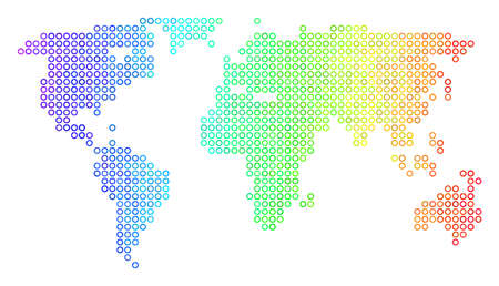 Bright Spectral World Map. Vector geographic map in bright rainbow color hues with horizontal gradient. Colored vector concept of World Map designed of regular circle elements. Foto de archivo - 100228672