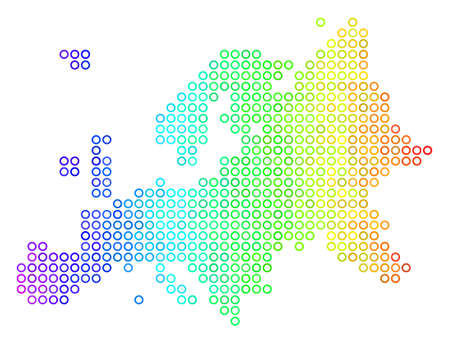 Colored Spectral Europe Map. Vector geographic map in bright rainbow color tinges with horizontal gradient. Color vector composition of Europe Map done of regular small spheres. Stock Photo