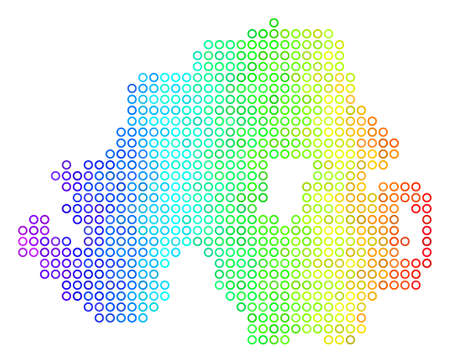 Bright Rainbow Northern Ireland Map. Vector geographic map in bright spectrum color tints with horizontal gradient. Color vector composition of Northern Ireland Map combined of regular round dots.