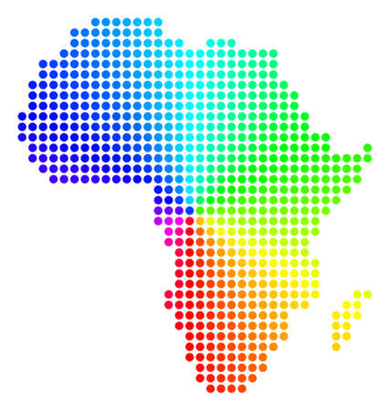 Spectrum dot Africa Map. Vector geographic map in bright rainbow colors with circular gradient. Bright vector collage of Africa Map organized of regular round elements.