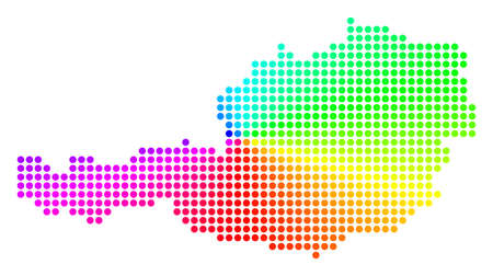 Spectrum dot Austria Map. Vector geographic map in bright spectral colors with circular gradient. Multicolored vector pattern of Austria Map composed of regular small circles.