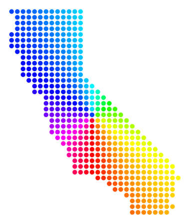 Spectral dot California Map. Vector geographic map in bright spectrum colors with circular gradient. Colored vector mosaic of California Map made of regular circle spots.