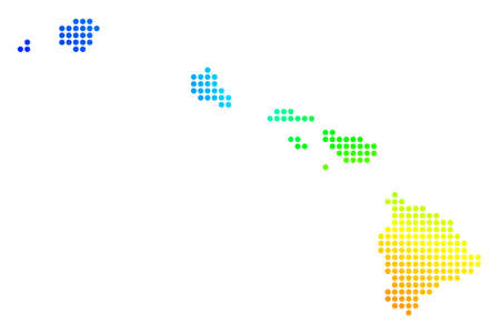 Spectral dot Havaii Islands Map. Vector geographic map in bright spectrum colors with circular gradient. Multicolored vector pattern of Havaii Islands Map constructed of regular circle elements.