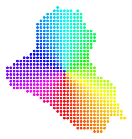 Spectrum dot Iraq Map. Vector geographic map in bright spectrum colors with circular gradient. Colored vector concept of Iraq Map composed of regular small spheres.