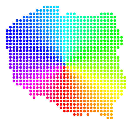 Rainbow dotted Poland Map. Vector geographic map in bright rainbow colors with circular gradient. Color vector pattern of Poland Map organized of regular circle spots. Ilustração