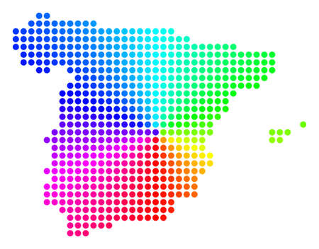 Spectral dotted Spain Map. Vector geographic map in bright spectral colors with circular gradient. Colorful vector composition of Spain Map composed of regular circles.