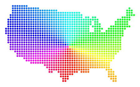 Rainbow dotted USA Map. Vector geographic map in bright spectrum colors with circular gradient. Bright vector collage of USA Map composed of regular small circles.