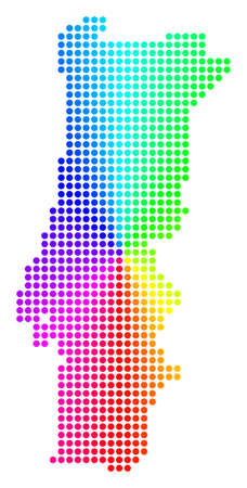 Spectral dot Portugal Map. Vector geographic map in bright spectral colors with circular gradient. Color vector concept of Portugal Map done of regular circle spots.