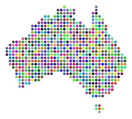 Colored Dot Australia Map. Vector geographic map in bright colors on a white background. Color vector mosaic of Australia Map created of regular blots.