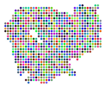 Colored Pixel Cambodia Map. Vector geographic map in bright colors on a white background. Color vector collage of Cambodia Map created of regular dots.